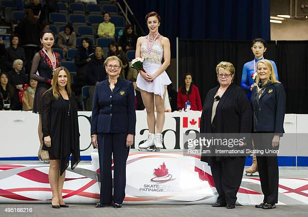 Winner of the Ladies' competition Ashley Wagner of the United States second place finisher Elizaveta Tuktamysheva of Russia and third place Yuka...