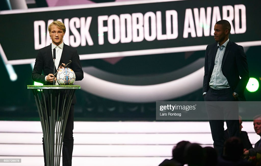 Winner of the Langelander Best Young Male Player of the Year Award Kasper Dolberg of Ajax Amsterdam receives the trophy on stage during the Danish Football Award Show at Forum Horsens on March 20, 2017 in Horsens, Denmark.