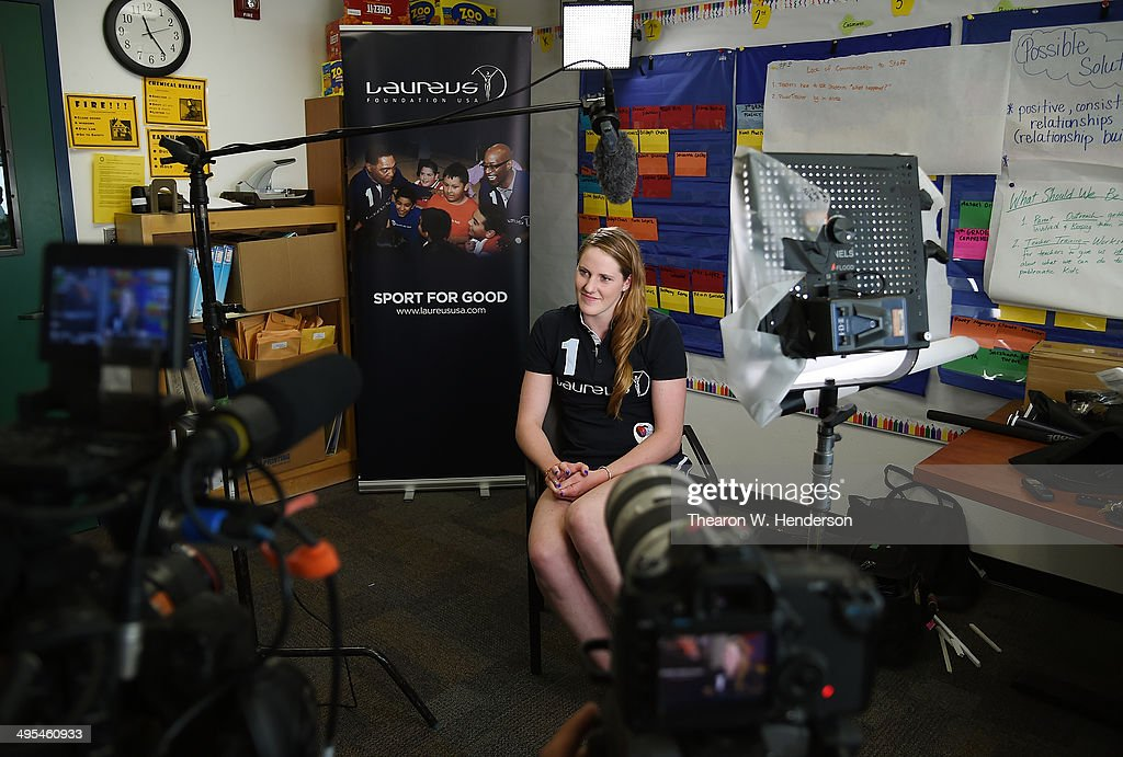 Winner of the Laureus World Sports Award for a female athlete and four-time Olympic gold medalist <a gi-track='captionPersonalityLinkClicked' href=/galleries/search?phrase=Missy+Franklin+-+Swimmer&family=editorial&specificpeople=6623958 ng-click='$event.stopPropagation()'>Missy Franklin</a> gives gives an interview during a visit to Bayview Elementary School on June 3, 2014 in San Pablo, California.