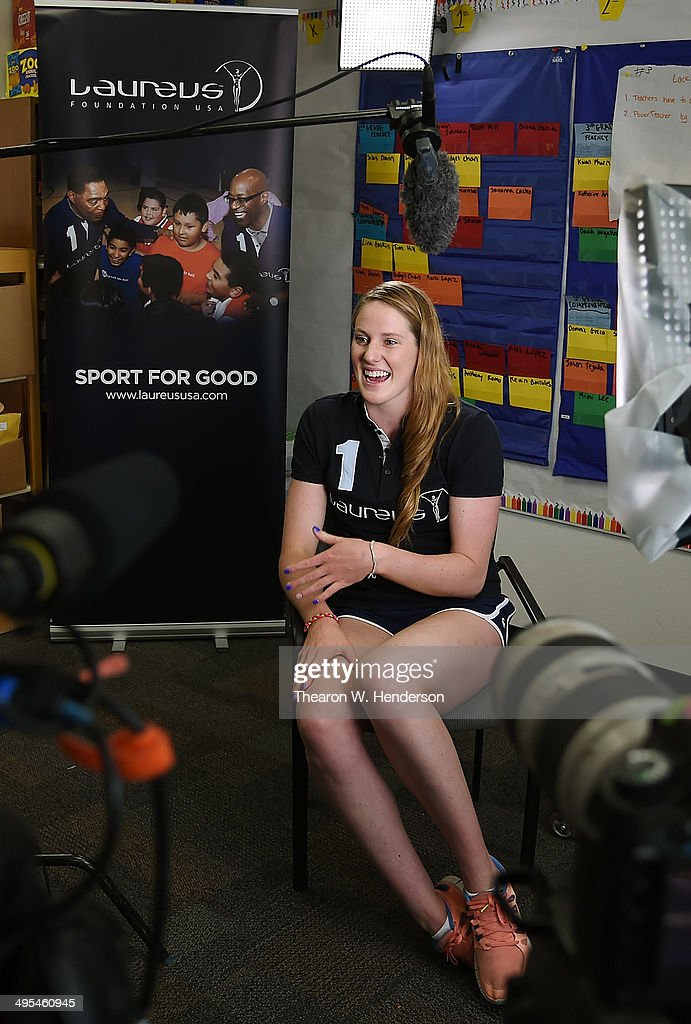 Winner of the Laureus World Sports Award for a female athlete and four-time Olympic gold medalist Missy Franklin gives gives an interview during a visit to Bayview Elementary School on June 3, 2014 in San Pablo, California.