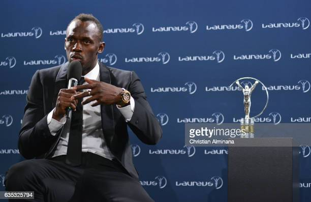 Winner of the Laureus World Sportsman of the Year Award Athlete Usain Bolt of Jamaica speaks during the Winners Press Conference during the 2017...