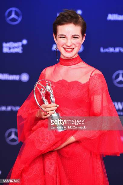 Winner of the Laureus World Sportsperson of the Year with a Disability Award Fencer Beatrice Vio of Italy with her trophy at the Winners Press...