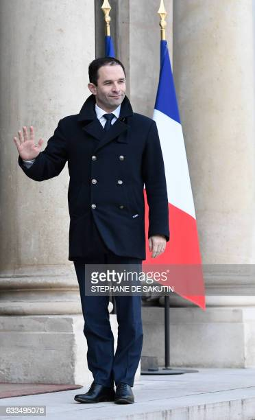 Winner of the leftwing primaries ahead of France's 2017 presidential elections Benoit Hamon arrives at the Elysee Palace in Paris to meet with...
