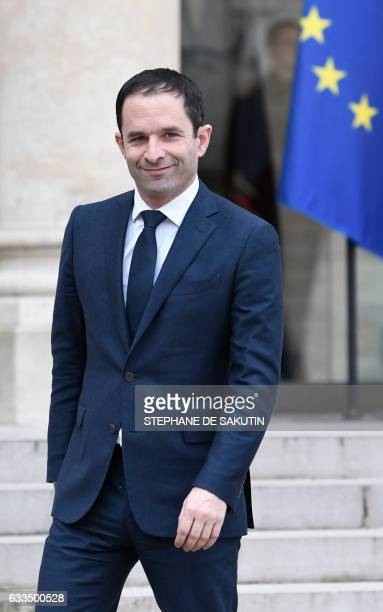 Winner of the leftwing primaries ahead of France's 2017 presidential elections Benoit Hamon leaves the Elysee Palace in Paris following his meeting...
