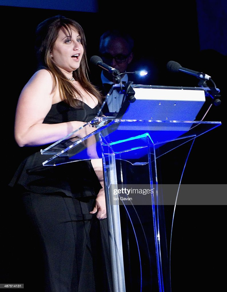 Winner of the L'Iris d'Or award Sara Naomi Lewkowicz on stage at the 2014 Sony World Photography awards (SWPA) at the London Hilton on April 30, 2014 in London, England.