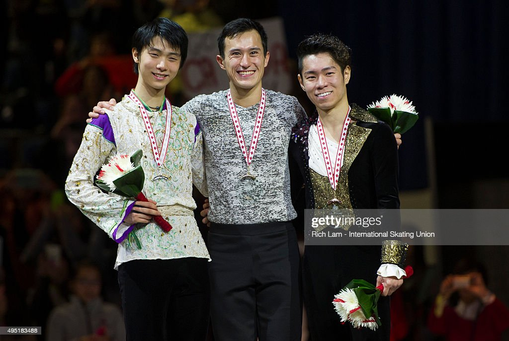 Winner of the Men's Competition Patrick Chan of Canada, second place Yuzuru Hanyu of Japan and third place Daisuke Murakami of Japan pose for a photo on day two of Skate Canada International ISU Grand Prix of Figure Skating, October, 31, 2015 at ENMAX Centre in Lethbridge, Alberta, Canada.
