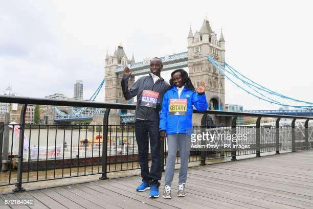 Winner of the men's race Daniel Wanjiru and winner of the women's race Mary Keitany during a photocall at The Tower Bridge Hotel London PRESS...