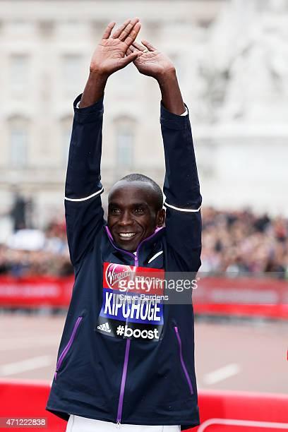 Winner of the Men's race Eliud Kipchoge of Kenya following the Men's race during the Virgin Money London Marathon on April 26 2015 in London England