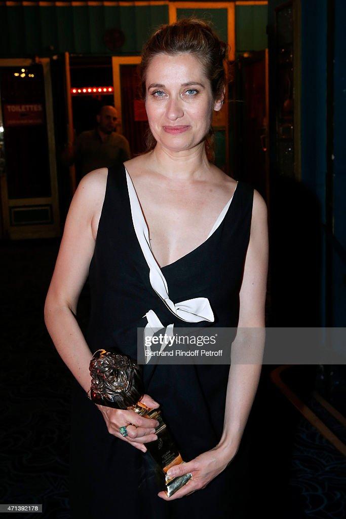 Winner of the 'Moliere de la Comedienne dans un spectacle de Theatre public' with 'Platonov' Emmanuelle Devos attends the 27th 'Nuit Des Molieres'...