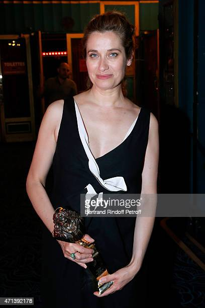Winner of the 'Moliere de la Comedienne dans un spectacle de Theatre public' with 'Platonov' Emmanuelle Devos attends the 27th 'Nuit Des Molieres'...