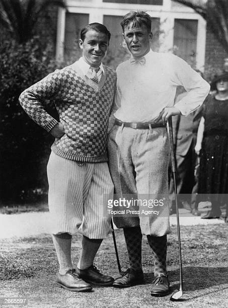 Winner of the National Championship Golf Cup Bobby Jones who won the British Open three times and the US Open four times on the right with fellow...