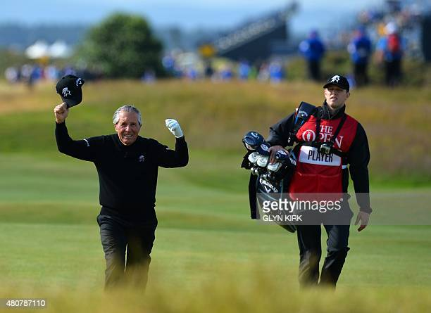 Winner of The Open in 1959 1968 and 1974 South Africa's Gary Player reacts on hearing his name announced during the Champion Golfers' Challenge on...