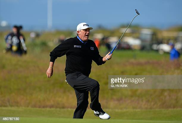 Winner of The Open in 1989 US golfer Mark Calcavecchia reacts after missing a shot during the Champion Golfers' Challenge on The Old Course at St...