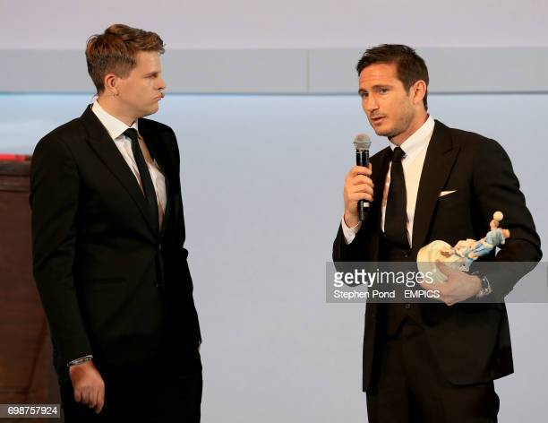 Winner of the PFA's Merit award Frank Lampard with BT Sport presenter Jake Humphrey on stage during the PFA Awards at the Grosvenor House Hotel London