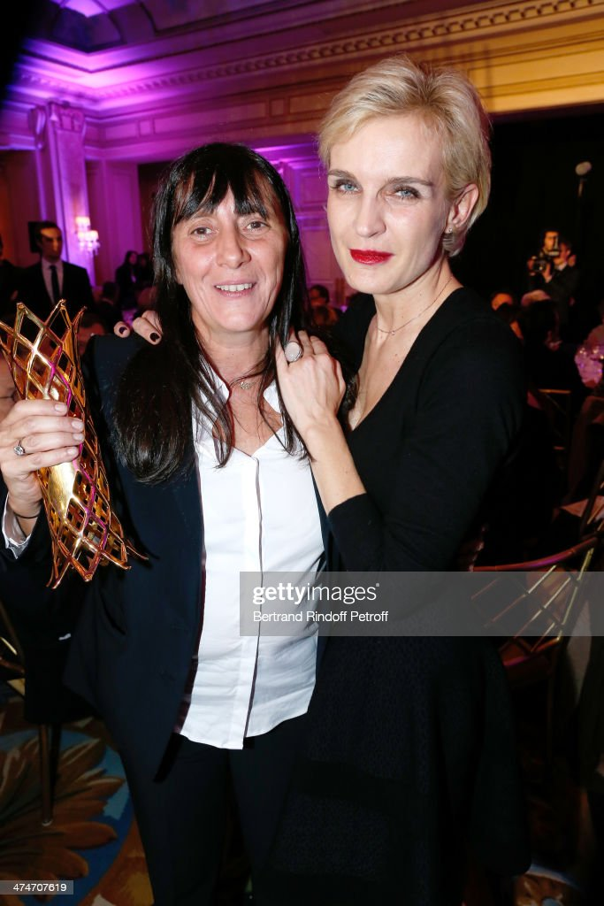 Winner of the price for the movie 'L'inconnue du lac' and widow of director Maurice Pialat, Sylvie Pialat and Melita Toscan du Plantier attend the 'Daniel Toscan du Plantier Producer's Price - Cesar Film Awards 2014' at Hotel George V on February 24, 2014 in Paris, France.