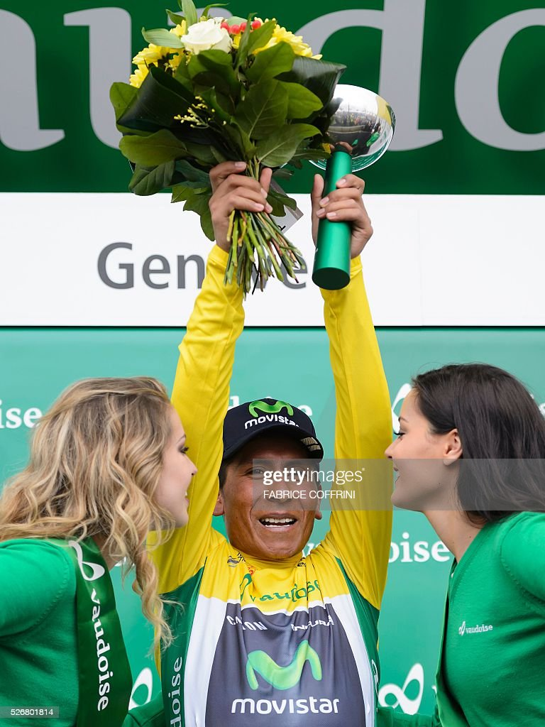 Winner of the race, Colombian Nairo Quintana of Team Movistar celebrates during the podium ceremony of the last stage of the 70th Tour de Romandie UCI World Tour, a 177,4 km race from Ollon to Geneva, on May 1, 2016 in Geneva. / AFP / FABRICE