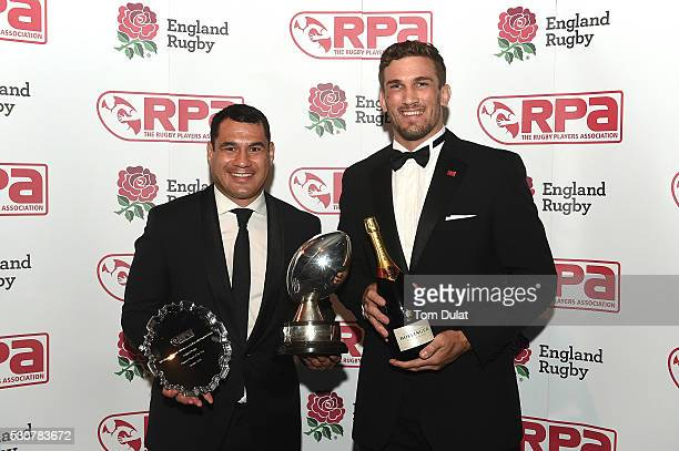 Winner of The RPA Players' Player of the Year in association with England Rugby Award George Smith poses for photos with Christian Day during the RPA...
