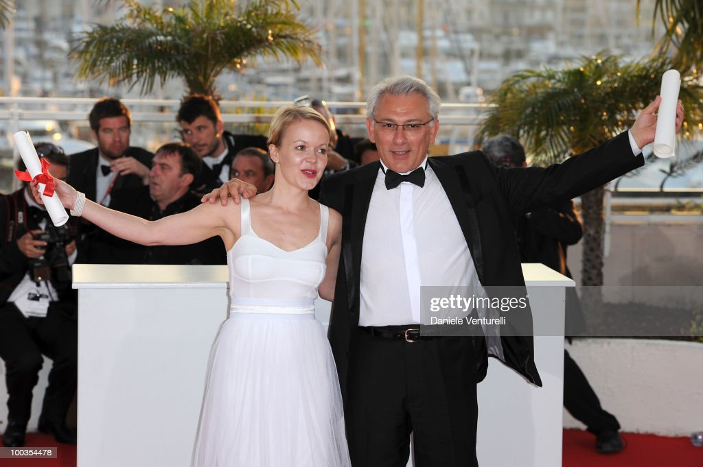 Winner of the Short Film Jury Prize Frida Kempff and winner of the Short Film Palme d'Or Serge Avedikian attend the Palme d'Or Award Ceremony Photo Call held at the Palais des Festivals during the 63rd Annual International Cannes Film Festival on May 23, 2010 in Cannes, France.