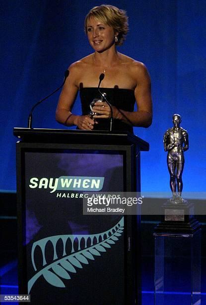 Winner of the Sportswoman of the year Sarah Ulmer recieves her award at the Halberg Sports Awards at Skycity Auckalnd New Zealand Thursday 24...