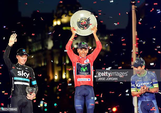 TOPSHOT Winner of the Vuelta 2016 Movistar's Colombian cyclist Nairo Quintana second Sky's British cyclist Christopher Froome and third placed...