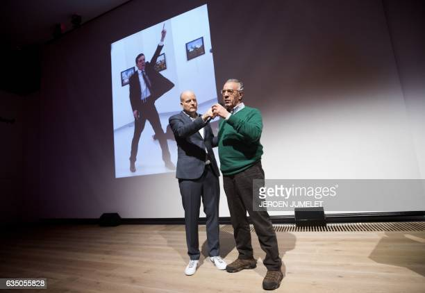 Winner of the World Press Photo 2016 photographer Burhan Ozbilici and Managing Director of the World Press Photo Foundation Lars Boering speak on...