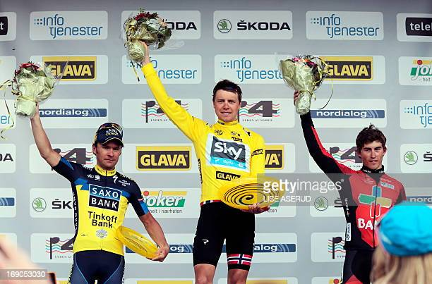 Winner of Tour of Norway Edvald Boasson Hagen from Norway silver medalist Sergio Miguel Moreira Paulinho from Portugal and number three Sondre Holst...