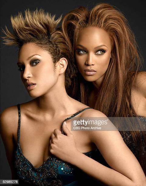 Winner of UPN'S 'America's Next Top Model' Naima Mora and supermodel Tyra Banks pose at at UPN'S 'America's Next Top Model' finale