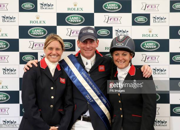 Winner Oliver Townend second placed Piggy French and third placed Gemma Tattersall during day four of the Land Rover Burghley Horse Trials at...