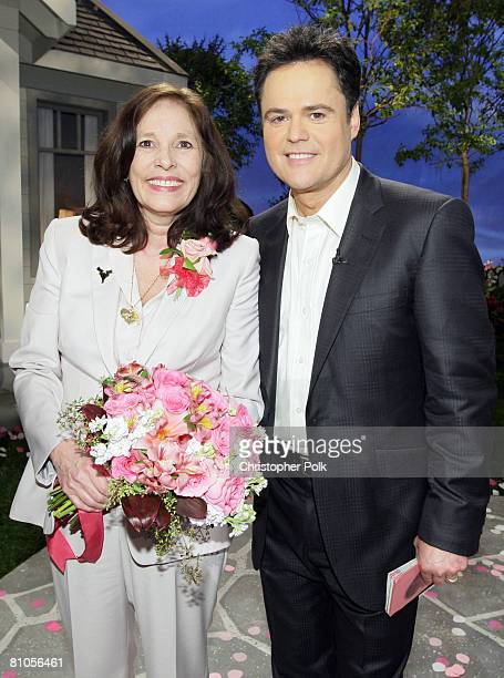 CULVER CITY CA MAY 11 Winner Patti PattonBader Military Mom and Donny Osmond during Teleflora presents America's Favorite Mom in Culver City on May...