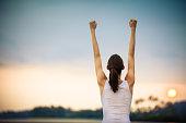 Woman celebrating her goals. Winning concept.