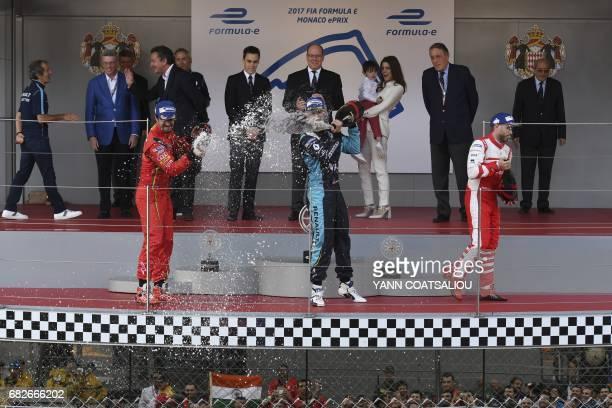 CORRECTION Winner Renault EDams Formula E Team's Swiss driver Sebastien Buemi second placed ABT Schaeffler Audi Sport Formula E team's Brazilian...
