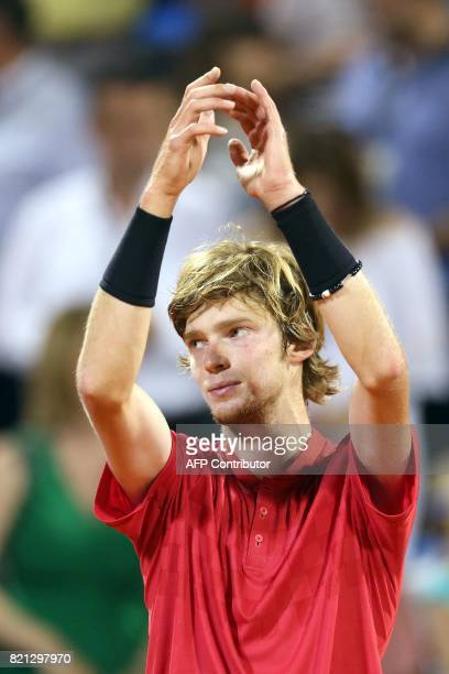 Winner Russian tennis player Andrey Rublev celebrates during the prize ceremony after competing in the ATP Croatia Open tennis tournament final match...