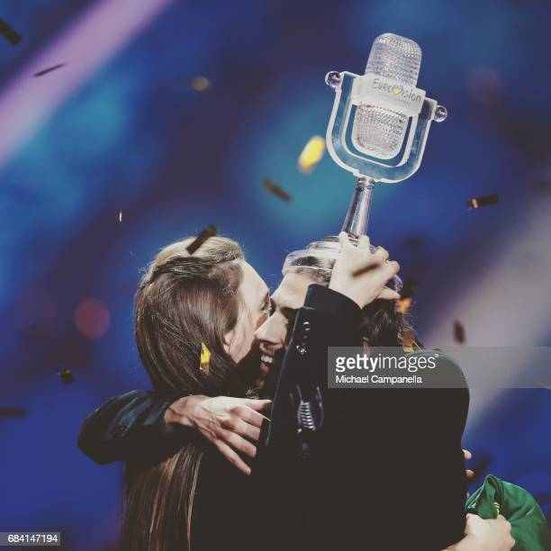 Winner Salvador Sobral representing Portugal and his sister Luisa Sobral pose with his award during the final of the 62nd Eurovision Song Contest at...