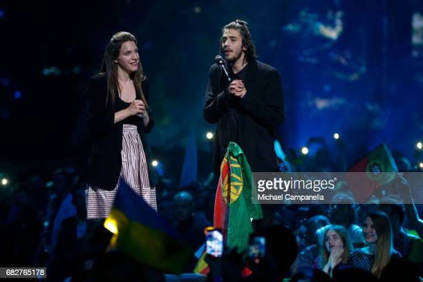 Winner Salvador Sobral representing Portugal performs his song 'Amar Pelos Dois' again together with his sister Luisa Sobral during the final of the...