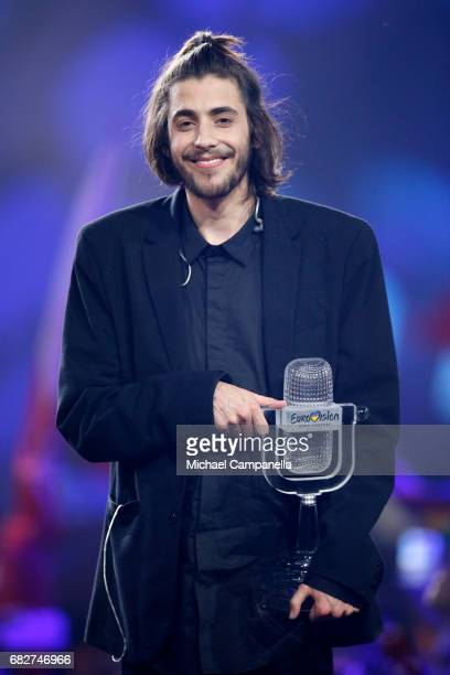 Winner Salvador Sobral representing Portugal poses with his award during the final of the 62nd Eurovision Song Contest at International Exhibition...