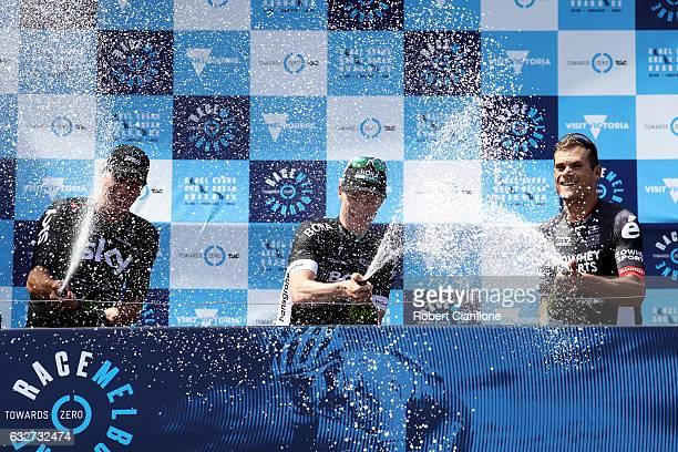 Winner Sam Bennett of Ireland and BoraHansgrohe second place Scott Sunderland of Australia and IsoWheSports and Danny Van Poppel of the Netherlands...