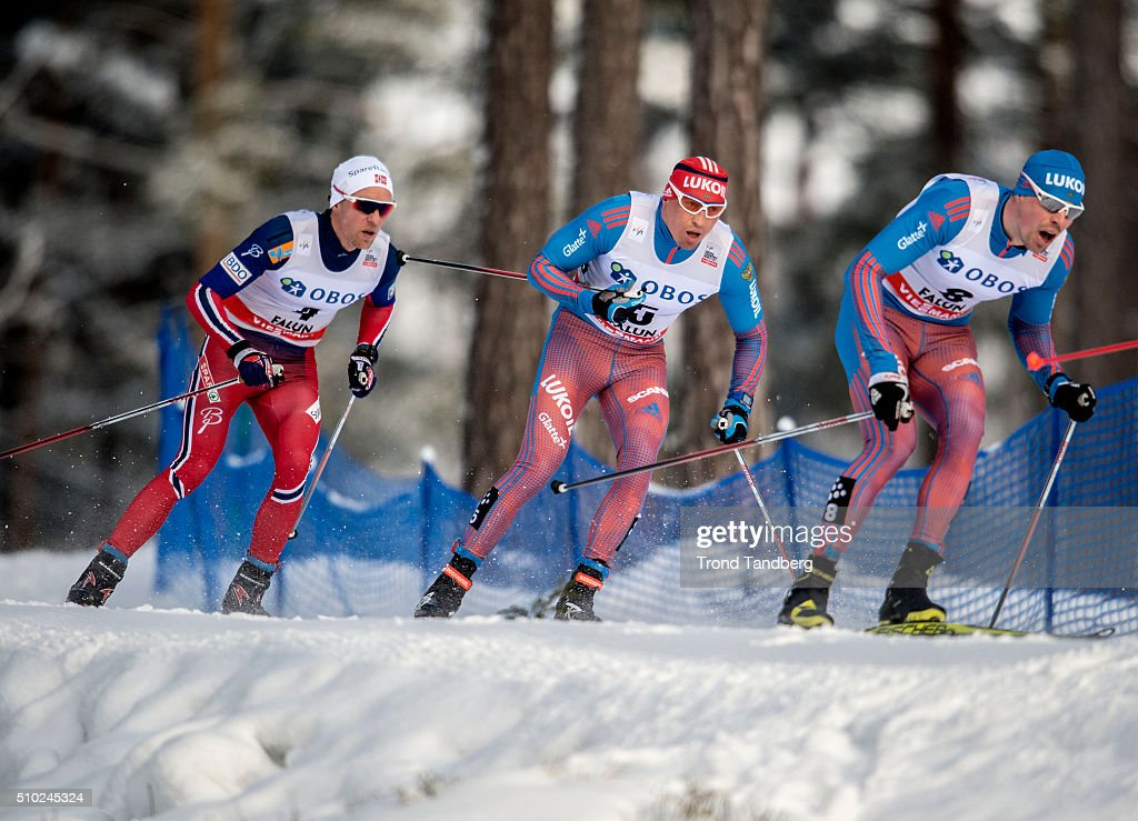 Winner Sergey Ustiugov of Russia, Alexander Legkov of Russia, Didrik Toenseth of Norway during Cross Country Men 15.0 km Mass Start Free on February 14, 2016 in Falun, Sweden.