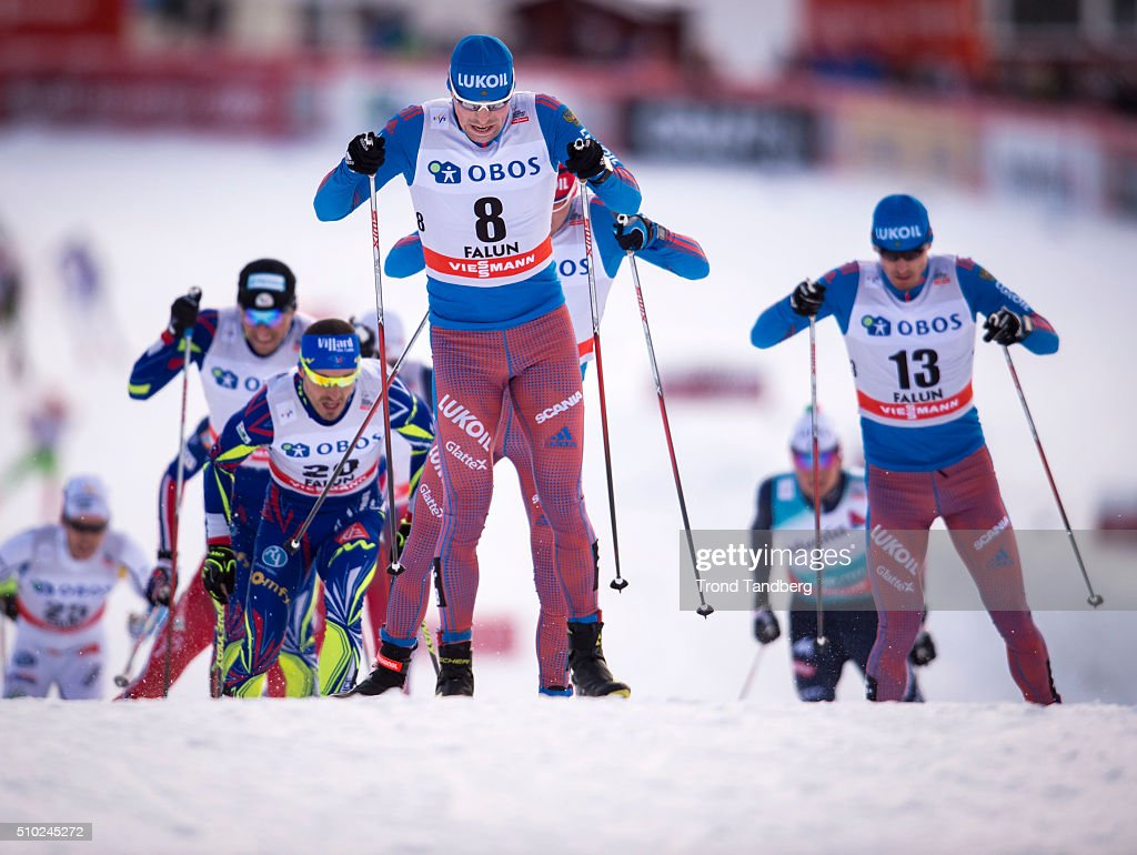 Winner Sergey Ustiugov of Russia during Cross Country Men 15.0 km Mass Start Free on February 14, 2016 in Falun, Sweden.