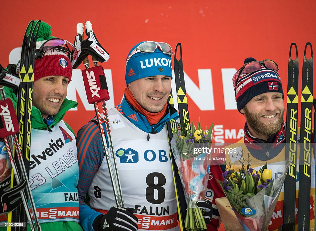 Winner Sergey Ustiugov of Russia, Francesco De Fabiani of Italy, Martin Johnsrud Sundby of Norway during the podium Cross Country Men 15.0 km Mass Start Free on February 14, 2016 in Falun, Sweden.