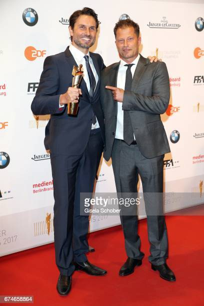 Winner Simon Verhoeven and Til Schweiger with award during the Lola German Film Award 2017 at Palais am Funkturm on April 28 2017 in Berlin Germany