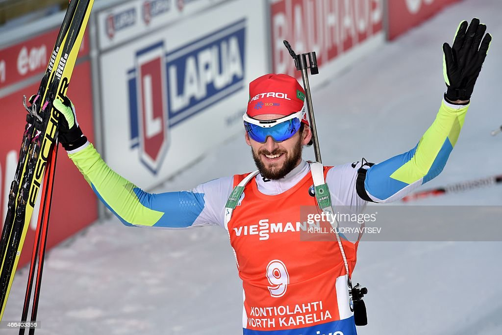 Winner Slovenia's <a gi-track='captionPersonalityLinkClicked' href=/galleries/search?phrase=Jakov+Fak&family=editorial&specificpeople=5644158 ng-click='$event.stopPropagation()'>Jakov Fak</a> reacts after the Men 15 km Mass Start at the IBU Biathlon World Championship in Kontiolahti, Finland on March 15, 2015. Slovenia's <a gi-track='captionPersonalityLinkClicked' href=/galleries/search?phrase=Jakov+Fak&family=editorial&specificpeople=5644158 ng-click='$event.stopPropagation()'>Jakov Fak</a> won the competition, Czech Republic's Ondrej Moravec placed second and Norway's Tarjei Boe placed third.