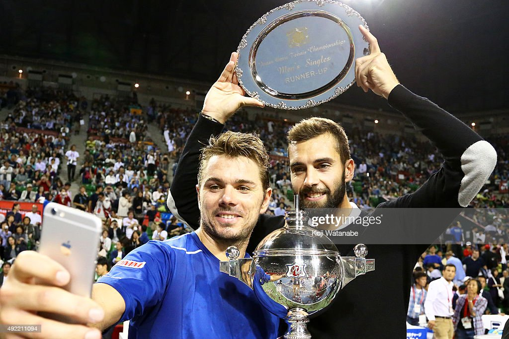 Winner Stan Wawrinka of Switzerland (L) and runner-up Benoit Paire of France take a selfie after the men's singles final match on Day Seven of the Rakuten Open 2015 at Ariake Colosseum on October 11, 2015 in Tokyo, Japan.