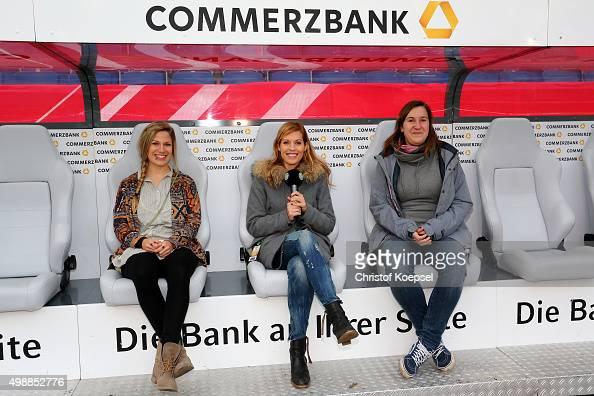 Winner Stephanie Schwehm Julia Goelsdorf DFBTV moderator and winner Sabrina Stiemert pose during the Meet and Greet of the Fanclub Nationalmannschaft...