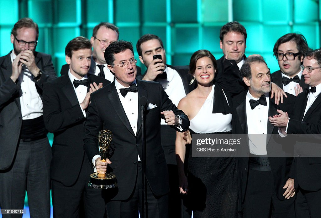 Winner, <a gi-track='captionPersonalityLinkClicked' href=/galleries/search?phrase=Stephen+Colbert&family=editorial&specificpeople=215133 ng-click='$event.stopPropagation()'>Stephen Colbert</a> during the 65th Primetime Emmy Awards which will be broadcast live across the country 8:00-11:00 PM ET/ 5:00-8:00 PM PT from NOKIA Theater L.A. LIVE in Los Angeles, Calif., on Sunday, Sept. 22 on the CBS Television Network.