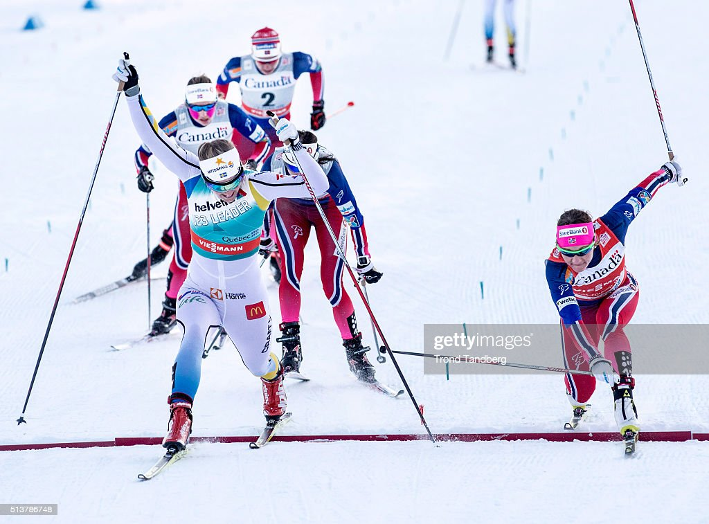Winner <a gi-track='captionPersonalityLinkClicked' href=/galleries/search?phrase=Stina+Nilsson&family=editorial&specificpeople=10116472 ng-click='$event.stopPropagation()'>Stina Nilsson</a> of Sweden crosses the finish line ahead of <a gi-track='captionPersonalityLinkClicked' href=/galleries/search?phrase=Maiken+Caspersen+Falla&family=editorial&specificpeople=5646017 ng-click='$event.stopPropagation()'>Maiken Caspersen Falla</a> of Norway during Cross Country Ladies 1.5 km Sprint Free Classic on March 4, 2016 in Quebec City, Quebec, Canada.
