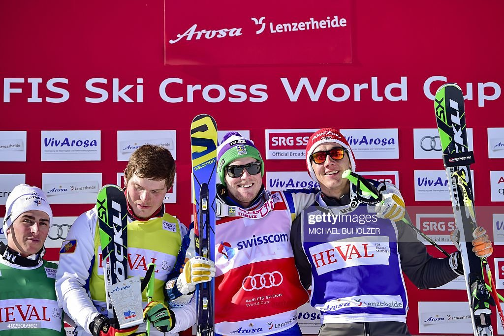 Winner Sweden's Victor Oehling Norberg (2nd R), second placed Russia's Sergey Ridzik (2nd L), third placed Germany's <a gi-track='captionPersonalityLinkClicked' href=/galleries/search?phrase=Daniel+Bohnacker&family=editorial&specificpeople=6848307 ng-click='$event.stopPropagation()'>Daniel Bohnacker</a> (R) and fourth placed France's Jean Frederic Chapuis react on the podium after the Men's Snow Ski Cross Final at FIS World Cup in Arosa, on February 7, 2015. AFP PHOTO/ MICHAEL BUHOLZER