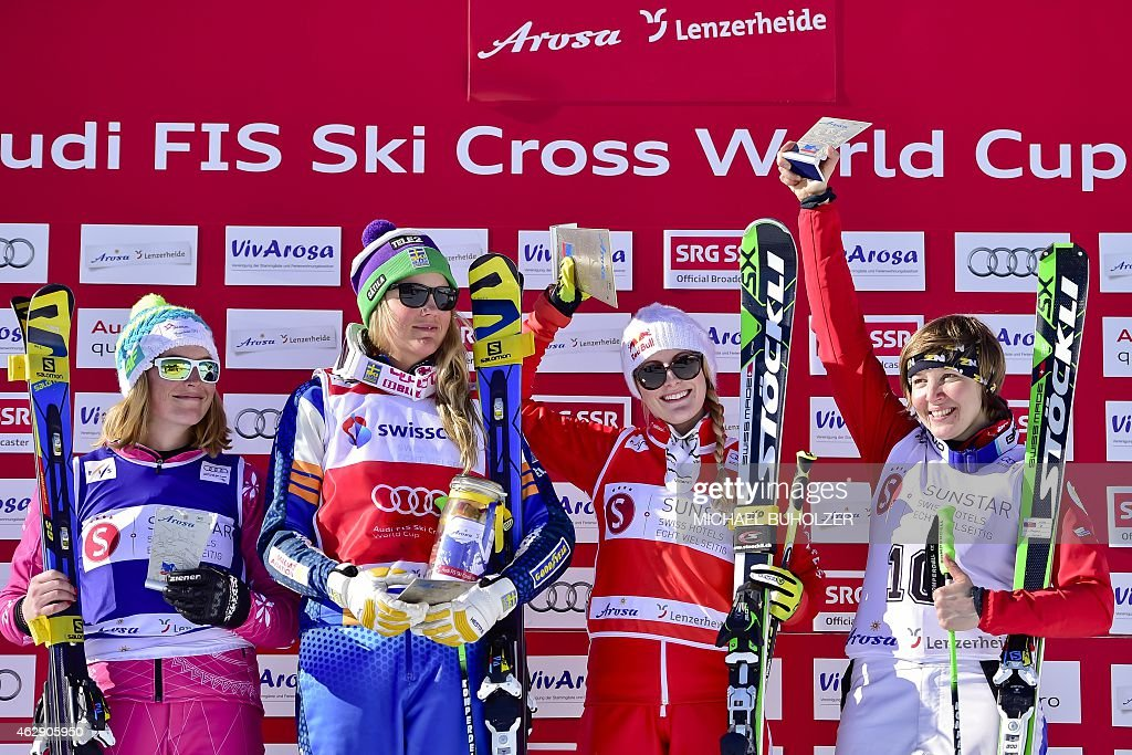 Winner Switzerland's <a gi-track='captionPersonalityLinkClicked' href=/galleries/search?phrase=Fanny+Smith&family=editorial&specificpeople=6704843 ng-click='$event.stopPropagation()'>Fanny Smith</a> (2nd R), second placed Sweden's <a gi-track='captionPersonalityLinkClicked' href=/galleries/search?phrase=Anna+Holmlund&family=editorial&specificpeople=6652011 ng-click='$event.stopPropagation()'>Anna Holmlund</a> (2nd L), third placed Russia's Sofia Smirnova (R) and fourth placed Pland's Karolina Riemen-Zerebecka (L) react on the podium after the Women's Snow Ski Cross Final at FIS World Cup in Arosa, on February 7, 2015.