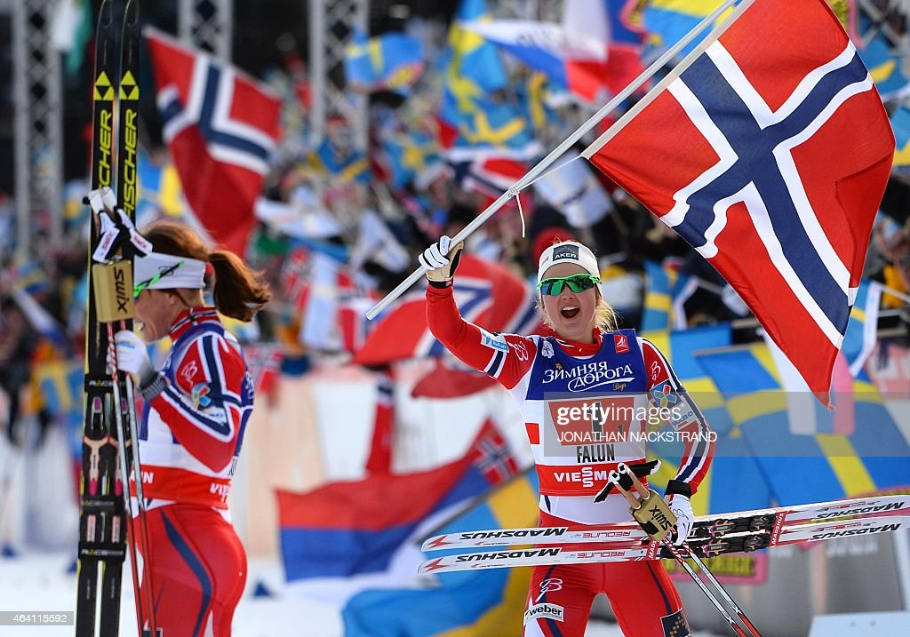 Winner Team Norway's <a gi-track='captionPersonalityLinkClicked' href=/galleries/search?phrase=Ingvild+Flugstad+Oestberg&family=editorial&specificpeople=7427144 ng-click='$event.stopPropagation()'>Ingvild Flugstad Oestberg</a> (R) and <a gi-track='captionPersonalityLinkClicked' href=/galleries/search?phrase=Maiken+Caspersen+Falla&family=editorial&specificpeople=5646017 ng-click='$event.stopPropagation()'>Maiken Caspersen Falla</a> react at the finish line of the ladies cross-country 6 x1,2 km free team sprint final during the 2015 FIS Nordic World Ski Championships in Falun, Sweden, on February 22, 2015. AFP PHOTO / JONATHAN NACKSTRAND