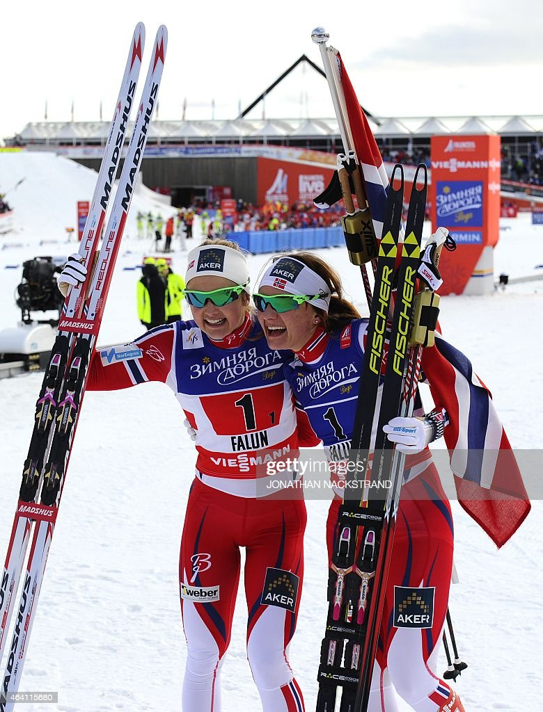 Winner Team Norway's <a gi-track='captionPersonalityLinkClicked' href=/galleries/search?phrase=Ingvild+Flugstad+Oestberg&family=editorial&specificpeople=7427144 ng-click='$event.stopPropagation()'>Ingvild Flugstad Oestberg</a> (L) and <a gi-track='captionPersonalityLinkClicked' href=/galleries/search?phrase=Maiken+Caspersen+Falla&family=editorial&specificpeople=5646017 ng-click='$event.stopPropagation()'>Maiken Caspersen Falla</a> react after the ladies cross-country 6 x1,2 km free team sprint final during the 2015 FIS Nordic World Ski Championships in Falun, Sweden, on February 22, 2015.