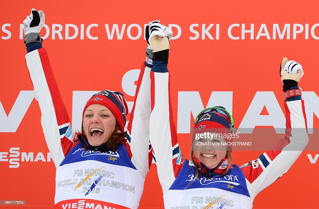 Winner Team Norway's <a gi-track='captionPersonalityLinkClicked' href=/galleries/search?phrase=Ingvild+Flugstad+Oestberg&family=editorial&specificpeople=7427144 ng-click='$event.stopPropagation()'>Ingvild Flugstad Oestberg</a> (R) and <a gi-track='captionPersonalityLinkClicked' href=/galleries/search?phrase=Maiken+Caspersen+Falla&family=editorial&specificpeople=5646017 ng-click='$event.stopPropagation()'>Maiken Caspersen Falla</a> react after the ladies cross-country 6 x1,2 km free team sprint final during the 2015 FIS Nordic World Ski Championships in Falun, Sweden, on February 22, 2015. AFP PHOTO / JONATHAN NACKSTRAND